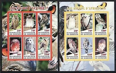 * Djibouti, 2010 issue. Owls of Africa on 2 IMPERF sheets of 6. #3 and 4.