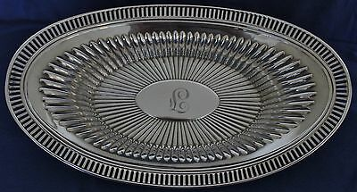 """Sterling Silver Oval Bread Tray By Webster Co.12"""" Long Mono L or F Ribbed Design"""