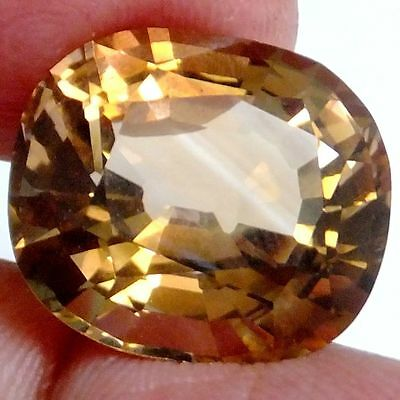 NATURAL Certified PEACH ORANGE TOPAZ LOOSE GEMSTONE (18.2 x 16 mm)  CUSHION CUT