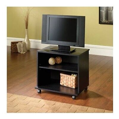 Small Entertainment Center Portable Tv Stand Mobile Cart Wood Media