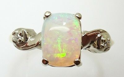 14K Gold .87ct Cushion Cut Genuine Natural Opal Ring with Diamonds (#J3317)