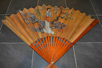 Large Vintage Chinese Hand Painted Wooden Fan