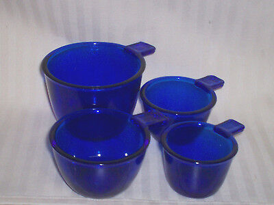 Cobalt Blue Glass 4 Pc Measuring Cups / Use Or Great Decorative Item