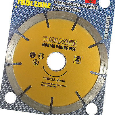 "Mortar Joint Raking Diamond Disc 115 x 22mm, 4.5""Angle Grinder Pointing Standard"