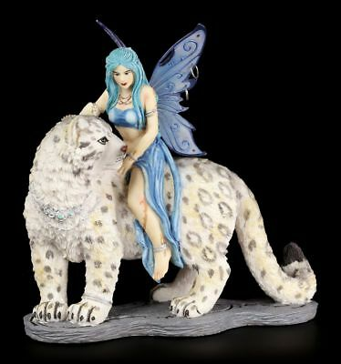 Elves Figurine Hima with Snow leopard Companion Fairies Collectible Fantasy
