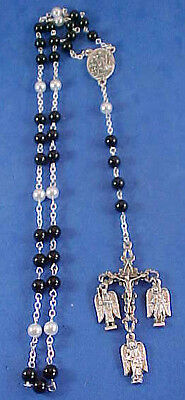 ONYX PEARL Rosary Chaplet HOLY ANGELS GUARDIAN 3 ARCHANGEL Saint St Medals 6mm