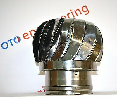 Chimney Spinning Cowl Anti Down Draught & Ventilator Stainless Steel Rotating