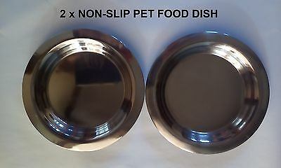 "2 X STAINLESS NON-SLIP CAT DOG PET FOOD WATER DISH 7"" 175mm 18MM DEEP"