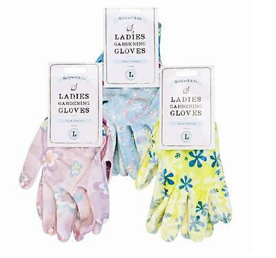 Ladies Gardening Floral Gloves Cotton Various Sizes And Colours