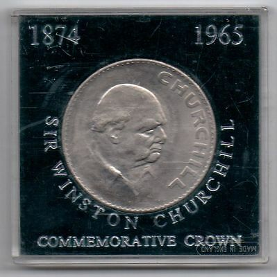 1965 SIR WINSTON CHURCHILL COMMEMORATIVE CROWN CASED COIN * Ref: 2 *