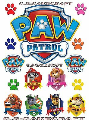 None Personalised Paw Patrol Logo Badges Chase Sky Edible Icing Cup Cake Toppers
