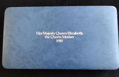 1980 ROYAL MINT BOX SET SILVER PROOF CROWN COINS + COA QUEEN MOTHER'S 80th