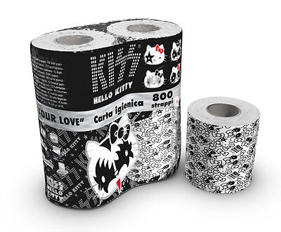 RARE ROCK KISS Gene Simmons HELLO KITTY TOILET PAPER LIMITED EDITION 4 ROLLS