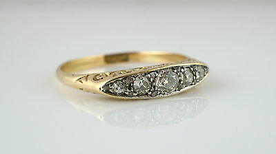Antique Victorian 18ct Yellow Gold 5 Stone Diamond Ring - Size R