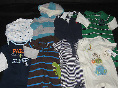 Baby Boy Size 6 & 9 Months Rompers One Piece Outfits Fall Winter Clothes Lot