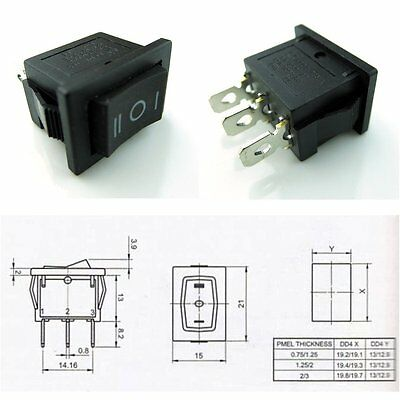 2 Pcs Hull Shape Snap-in KCD1-103 3Pin ON-OFF-ON Switch