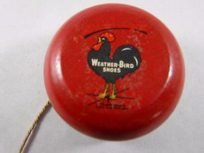 Rare Vintage Weather-Bird Shoes Red Black Wooden Rooster Advertising YOYO