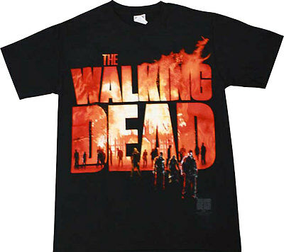 Official The Walking Dead Two Fire Logo Adult TShirt -Daryl Zombies Horror Drama