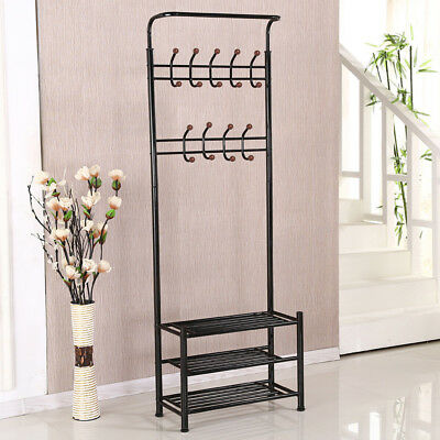 Black Metal Hat Coat Cloth Umbrella Shoes Stand Rack Hanger Hooks Heavy Duty