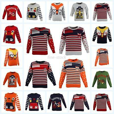Baby Kids Boys Girls Long Sleeve Sweater Cartoon Pullover Knitted Outerwear 2-7T