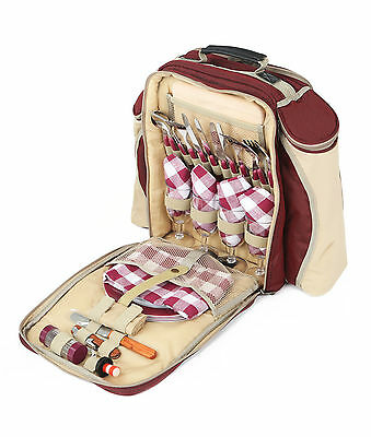 Deluxe Picnic Backpack for 4 in Multiple Colours, Picnic Rucksack, Picnic H