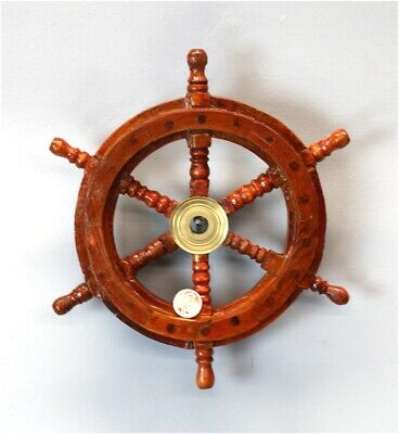 "9"" Ship's Steering Wheel Wood Antique Style Brass Nautical Home"
