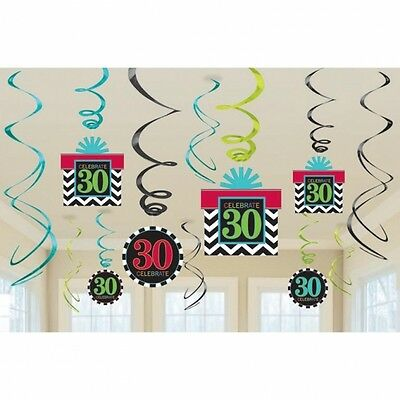 Aged 30 30Th Celebrate Happy Birthday Party Swirls Hanging Decoration Pack Of 12