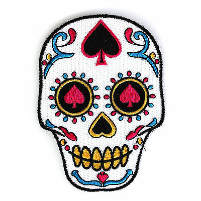 Embroidered Sugar Skull Ace of Spades Sew or Iron on Patch Biker Patch