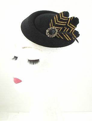 Black Gold Feather Pillbox Hat Fascinator Vintage Races Headpiece 1940s 20s 412