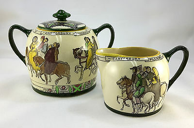 Royal Doulton Series Ware Canterbury Pilgrims Creamer and Sugar