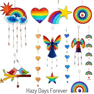 SUN CATCHER Wind Chime BUY 1 GET 1 at 10% OFF STAINED GLASS Mobile Hippy RESIN