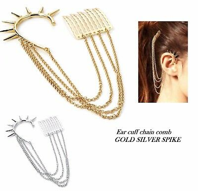 Earring-silver cuff-hook 3 cm hair comb-chains attached-Gothic punk-fancy dress