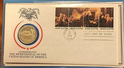 1976 the American bicentennial metallic first day cover medallion and pnc