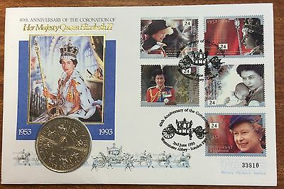 40th anniversary of coronation of qeII pnc with 5 pound coin - 33810 serial