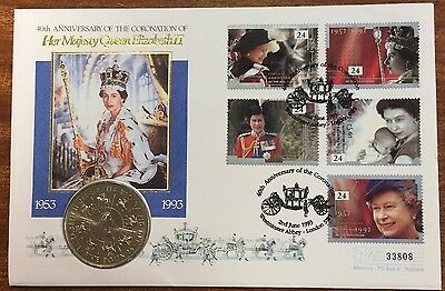 40th anniversary of coronation of qeII pnc with 5 pound coin - 33808 serial