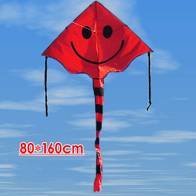 Smiley Kite Smiling Face Kite For Kids With 30M Handle Line Outdoor Sports Fun
