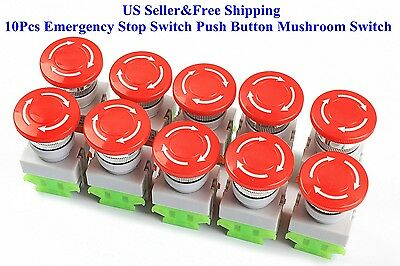 10Pcs Emergency Stop Switch Push Button Mushroom Switch with Twist-to-Reset