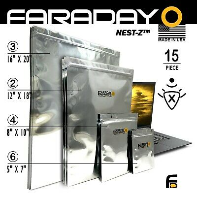 Faraday Cage EMP ESD Bags 15pc Genuine 7mil Kit BULK LOT XXX-LARGE....TESTED!