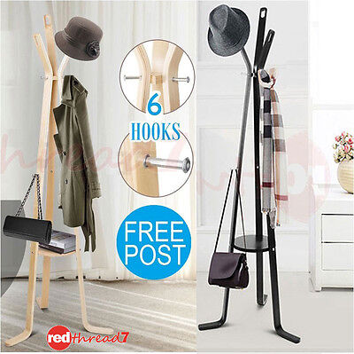 Coat Stand Black Wood Clothes Rack Hanger Umbrella Hat Jacket Hook Birch Wooden