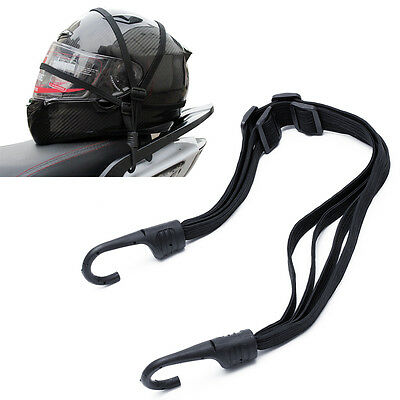 Motorcycle Flexible Retractable Helmet Luggage Elastic Rope Strap With 2 Hooks