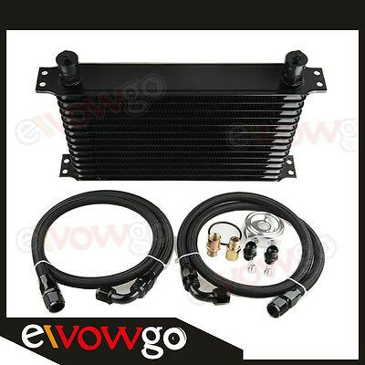 14-Row Engine Oil Cooler Aluminum Turbo+Relocation Kit+Nylon Cover Braided Lines