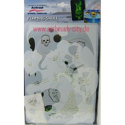 Airbrush Stencil Templates Flaming Skull 410136 Harder & Steenbeck