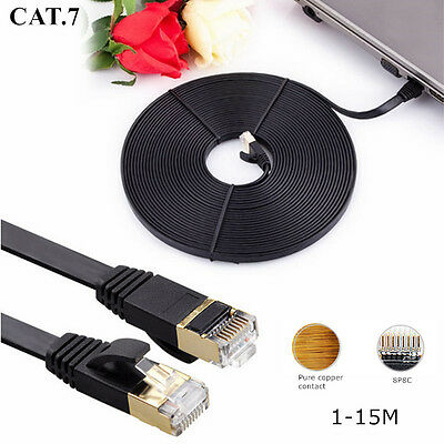 High 1M-15M CAT7 RJ45 10Gbs 600MHz Ethernet Router Red LAN Network Plano Cable