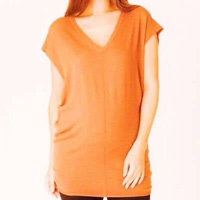 Ripe Maternity Mandarin Cotton Summer Knit Jumper Vest 14 16 Orange