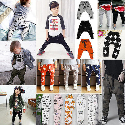 Kids Baby Boys Girls Sweat Harem Long Pant Trouser Bottoms Infant PP Leggings