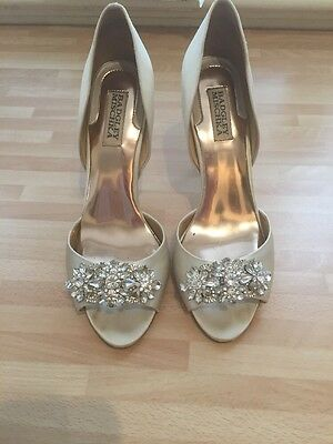 Badgley Mischka Giana Bridal Wedding Satin Ivory Shoes Size Uk 7