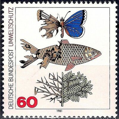 Germany 1981 Environment protection Butterflies Insects Fish Trees Nature 1v MNH