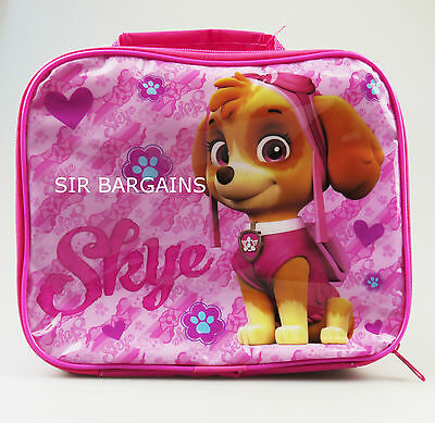 Paw Patrol Skye Girls Insulated Thermal Lunch Bag Box School Pink Pups