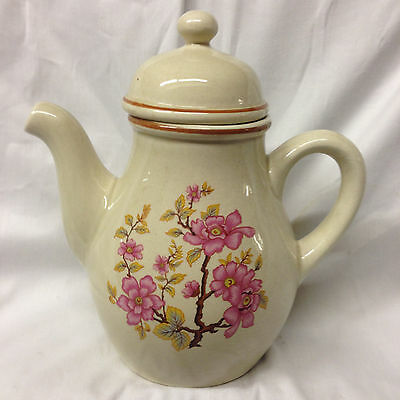 Gien France Coffee Pot 46 Oz Pink Flowers On Branches Speckled Cream