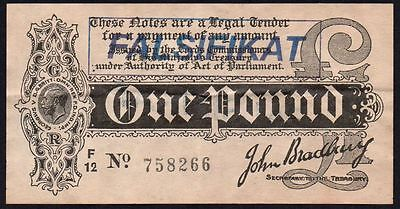 "Bradbury £1 Treasury Banknote Forged / Forgery German ""falsifikat"" Stamp"